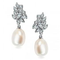 Kolczyki srebrne z naturalną perłą
