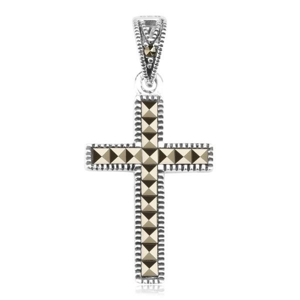 Krzyżyk CDM3440 (Srebro rodowane, Markazyty)