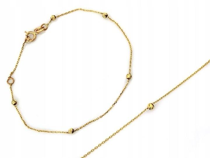 Złota bransoletka z kuleczkami próba 585