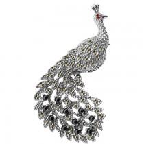 Broszka srebrna zdobiony paw
