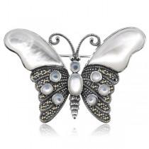 Srebrna broszka motyl oraz Markazyty i Masa Perłowa