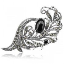 Elegancka srebrna broszka Markazyty oraz Onyks