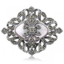 Stylowa srebrna broszka z Masą Perłową oraz Markazytami