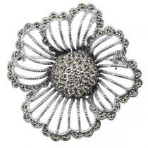 Wyjątkowa srebrna broszka z markazytami