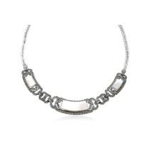 Wyjątkowy naszyjnik srebrny Markazyty oraz masa perłowa