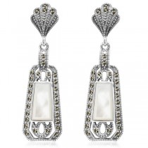 Kolczyki srebrne z markazytami i masą perłową