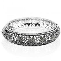 Wspaniała srebrna bransoletka zdobiona markazytami