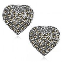 Kolczyki srebrne serca z markazytami