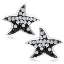 Kolczyki srebrne gwiazdki z cyrkoniami