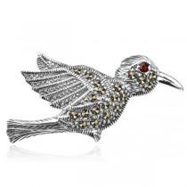Srebrna broszka ptak