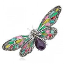 Srebrny motyl broszka z markazytami