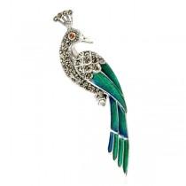 Srebrny paw - broszka zdobiona markazytami