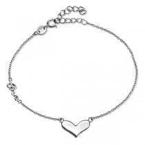 Srebrna bransoletka z sercem i love pr. 925