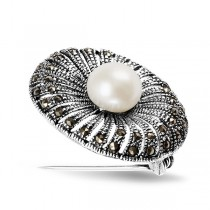 Broszka srebrna z Perłą naturalną
