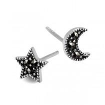 Srebrne kolczyki Gwiazda i Księżyc KDK5429