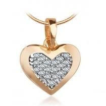 Złoty wisiorek serce z cyrkoniami WXC5473