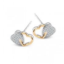 Kolczyki srebrne serca pokryte złotem KDK5511