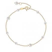 Złota bransoleta z naturalnymi perłami hodowlanymi BZN5754