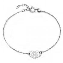 Srebrna bransoleta z ażurowym sercem BSC5805