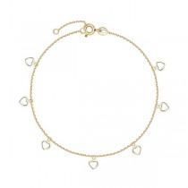 Złota bransoletka z serduszkami BXX5845