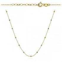 Złoty naszyjnik diamentowanymi kuleczkami w trzech kolorach złota próba 585