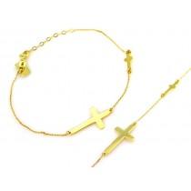 Złota bransoletka z dwoma krzyżykami